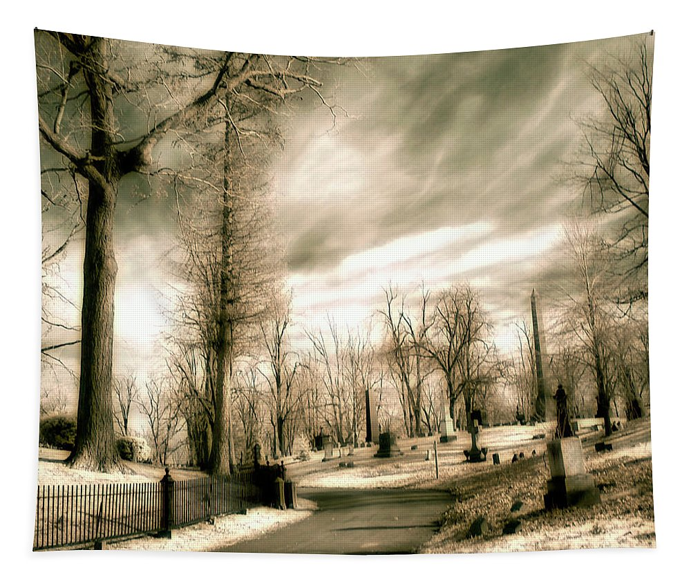 Infrared Tapestry featuring the photograph Toned Infrared Graveyard by Gothicrow Images