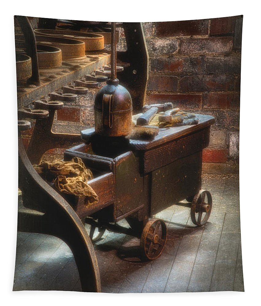 Abandon Factory Tapestry featuring the photograph Tool Cart by Jerry Fornarotto