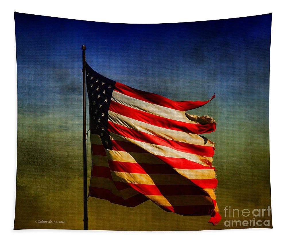 American Flag Tapestry featuring the photograph Torn And Tattered by Deborah Benoit