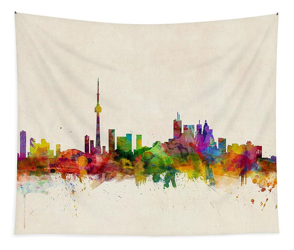 Toronto Tapestry featuring the digital art Toronto Skyline by Michael Tompsett
