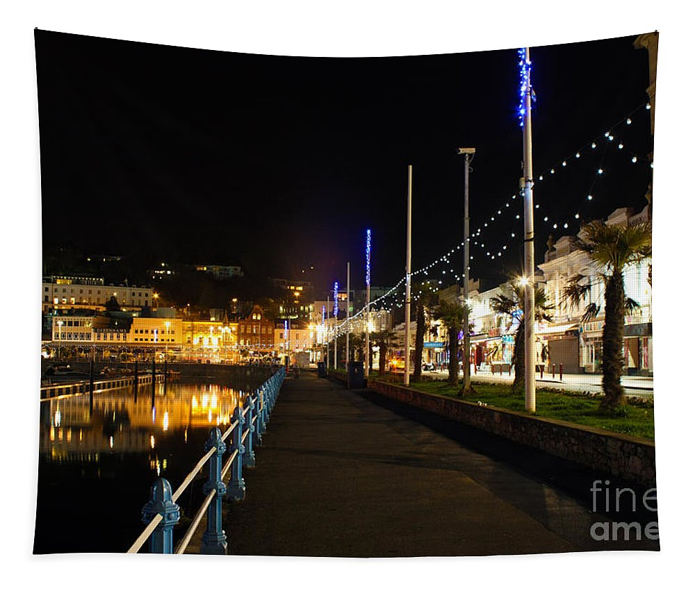 Torquay Royal Victoria Parade Tapestry featuring the photograph Torquay Victoria Parade At Night by Terri Waters