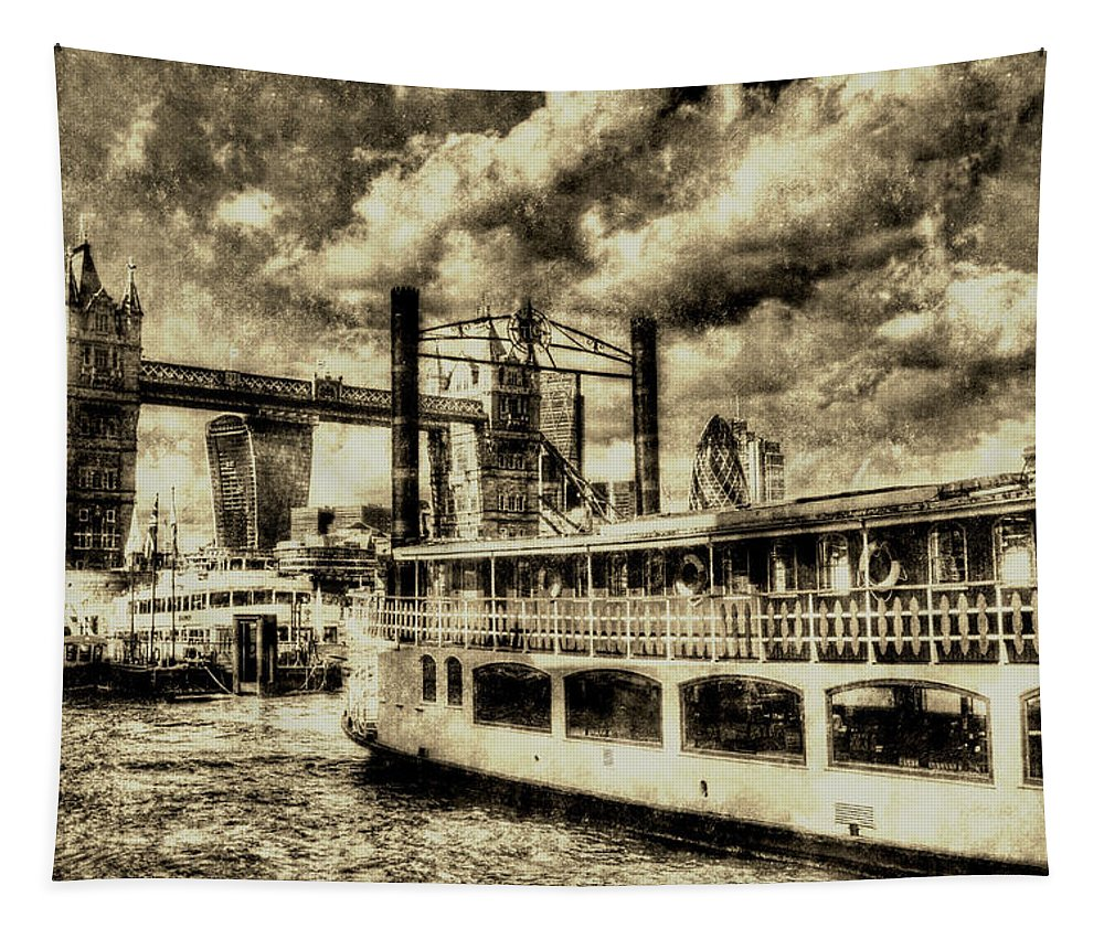 Tower Bridge Tapestry featuring the photograph Tower Bridge And The Elizabethan Vintage by David Pyatt