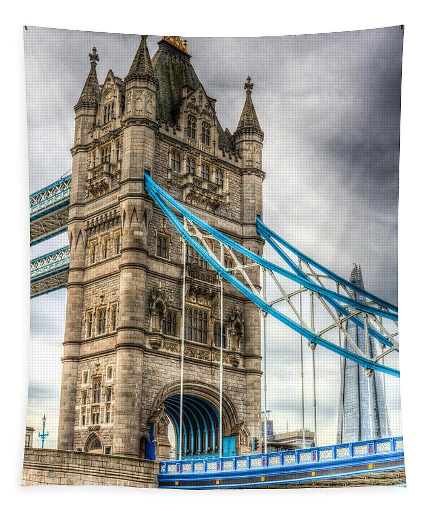 Tower Bridge Tapestry featuring the photograph Tower Bridge And The Shard by David Pyatt