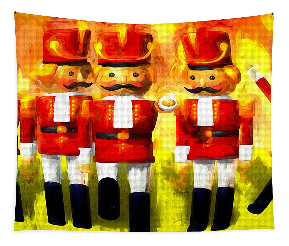 Toy Soldiers Tapestry featuring the painting Toy Soldiers Nutcracker by Bob Orsillo