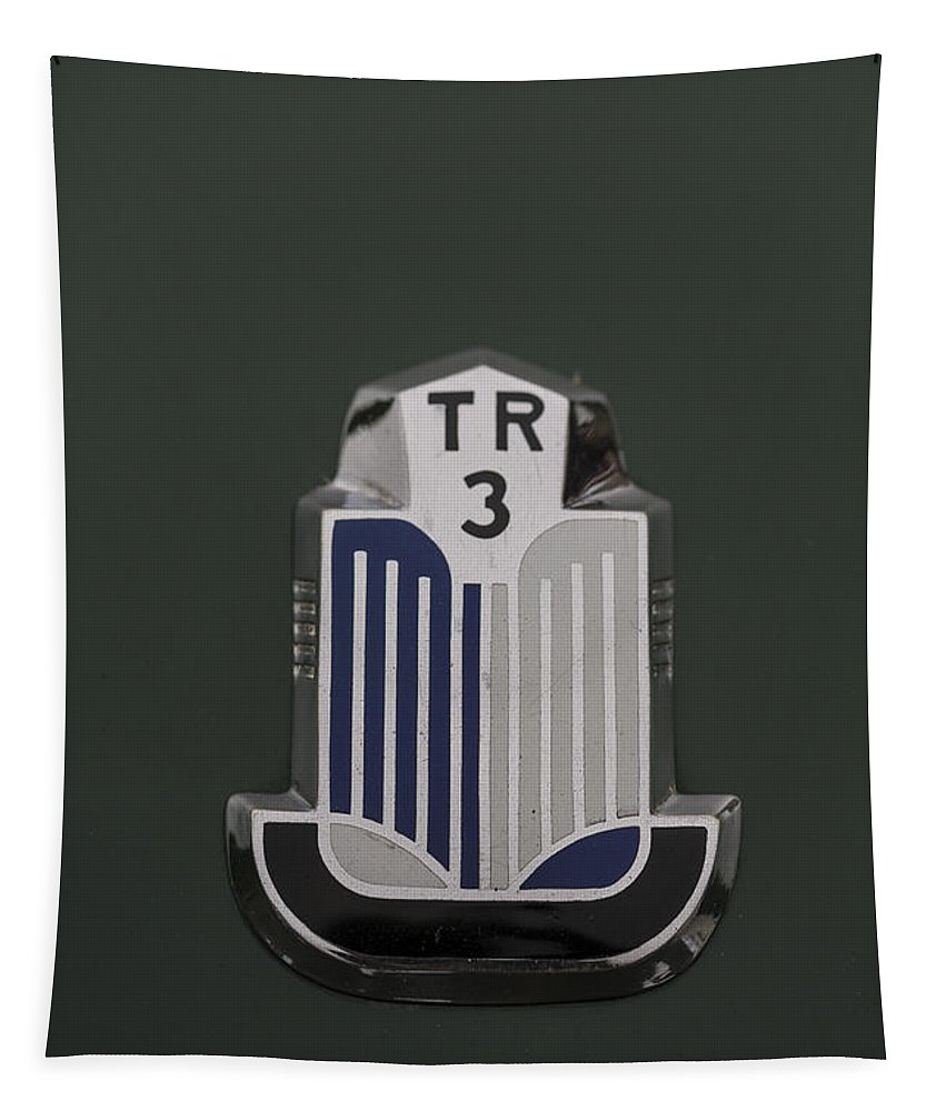 Triumph Tapestry featuring the photograph Tr3 Hood Ornament 2 by Scott Campbell