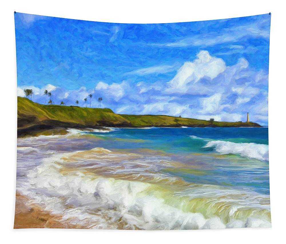Nawiliwili Tapestry featuring the painting Trade Winds At Nawiliwili by Dominic Piperata