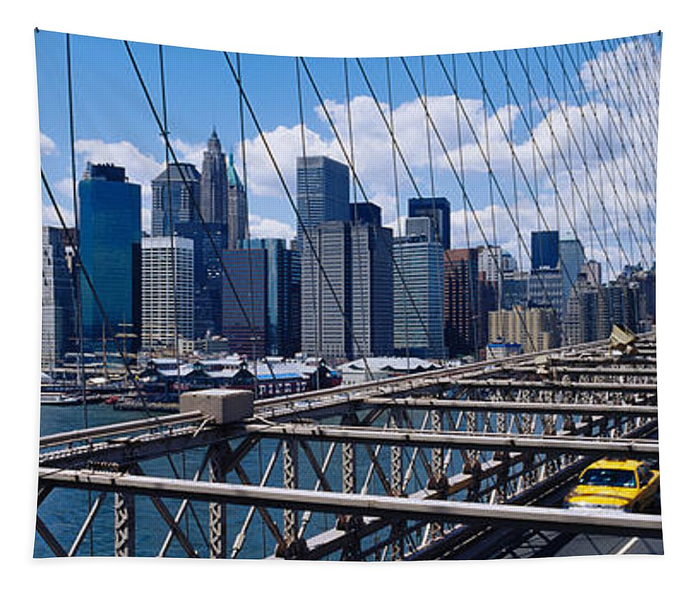 Photography Tapestry featuring the photograph Traffic On A Bridge, Brooklyn Bridge by Panoramic Images