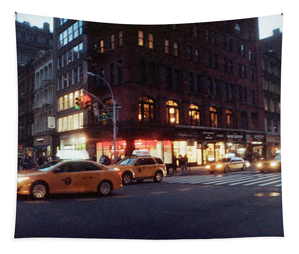 Photography Tapestry featuring the photograph Traffic On The Street At Night, 23rd by Panoramic Images