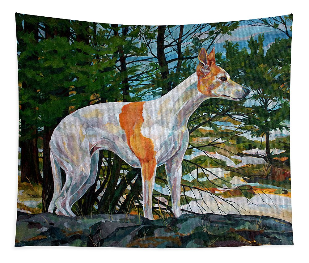 Whippet Tapestry featuring the painting Trailblazer by Derrick Higgins