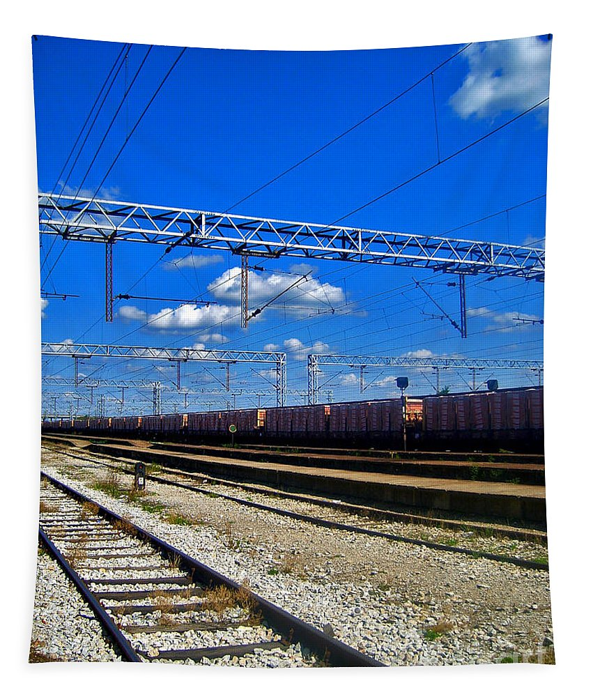 Train Tapestry featuring the photograph Train Line by Nina Ficur Feenan