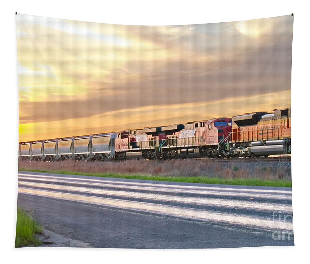 Train Tapestry featuring the photograph Train On The Tracks by Gary Richards