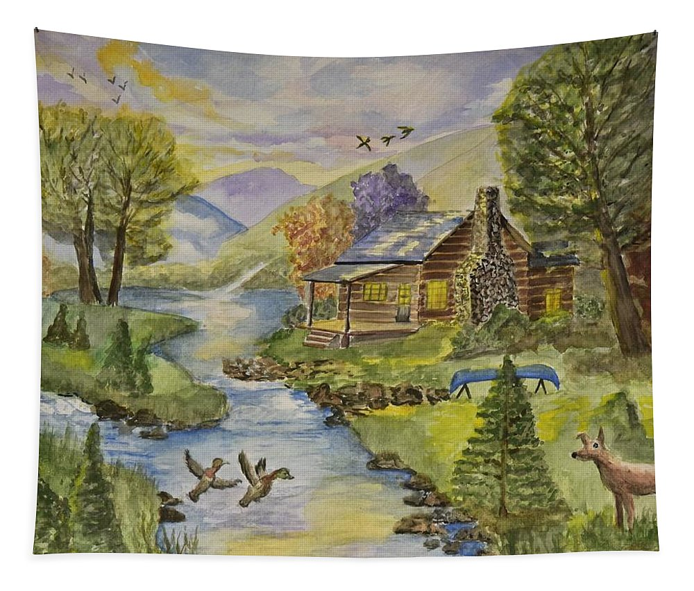 Linda Brody Tapestry featuring the painting Tranquil Log Cabin by Linda Brody