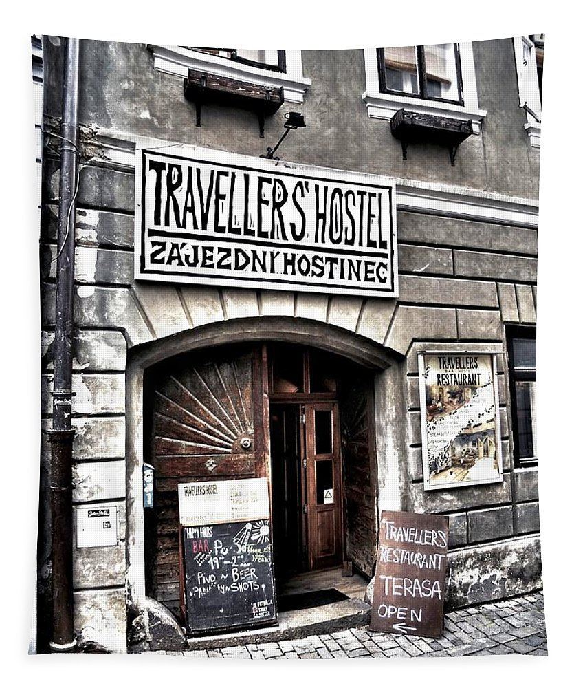 Europa Tapestry featuring the photograph Travellers Hostel - Cesky Krumlov by Juergen Weiss