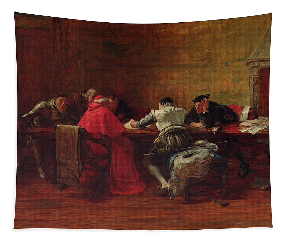 Conspiracy Tapestry featuring the painting Treason, 1867 by John Pettie