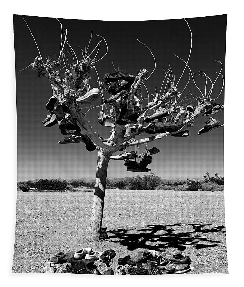 Salton Sea Tapestry featuring the photograph Tree Of Lost Soles 2 by Dominic Piperata