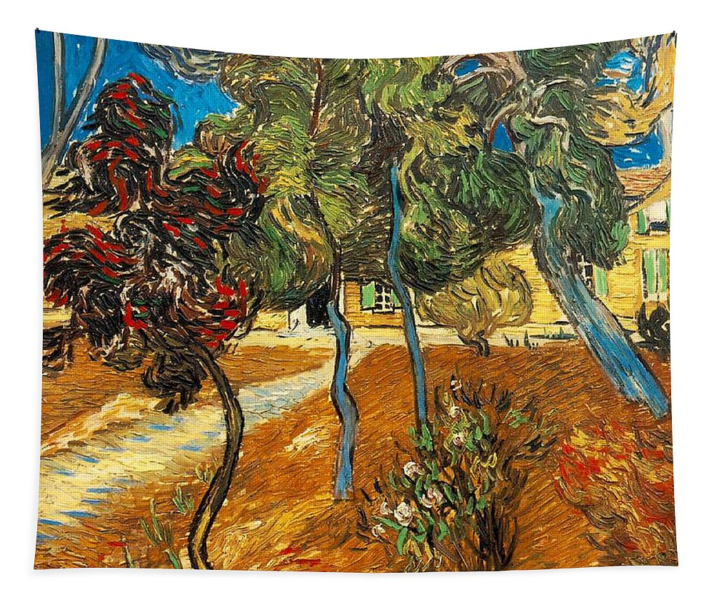 Vincent Van Gogh Tapestry featuring the painting Trees In The Asylum Gardens by Vincent Van Gogh