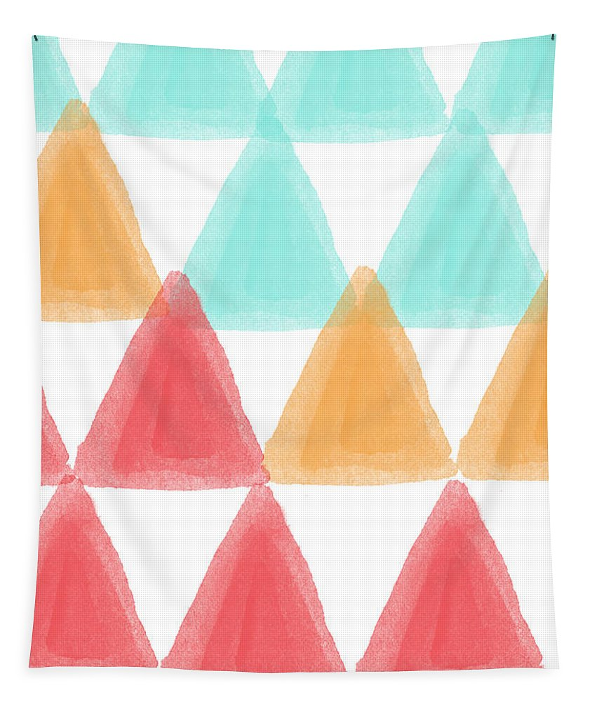 Triangles Tapestry featuring the painting Trifold- colorful abstract pattern painting by Linda Woods