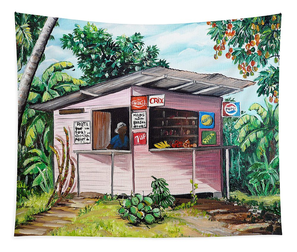 Shop Painting Tapestry featuring the painting Trini Roti Shop by Karin Dawn Kelshall- Best