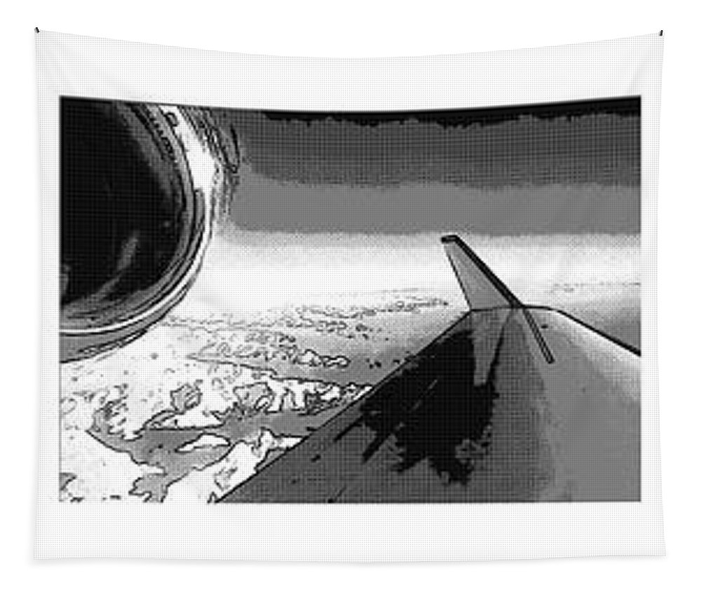 Red Tapestry featuring the photograph Red White Black An White Blue An White Jet Pop Art Planes. by R Muirhead Art