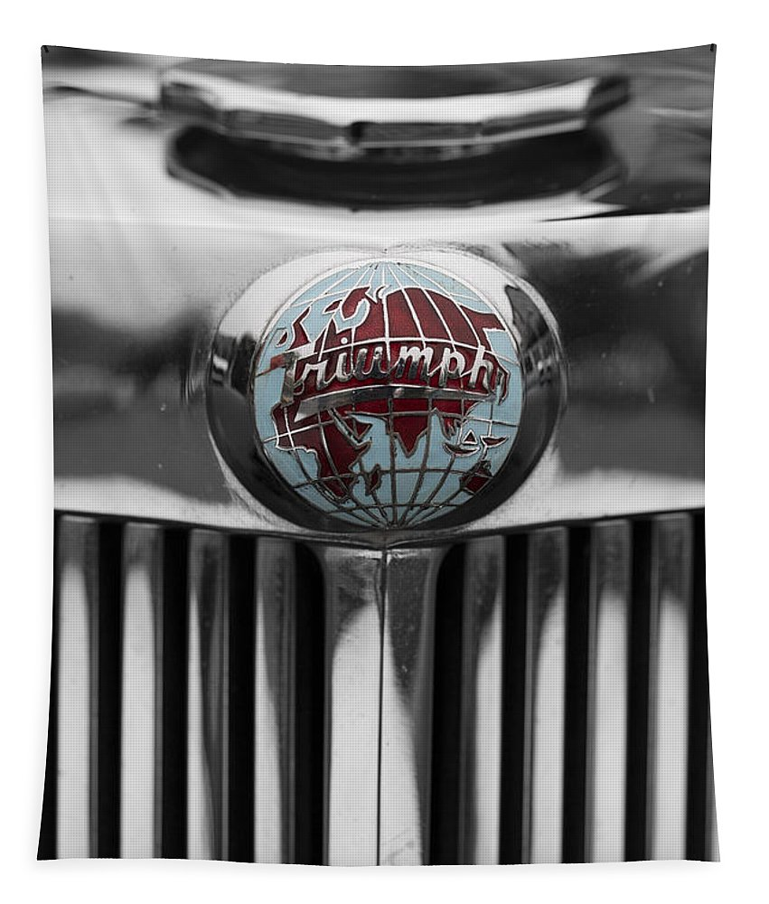 Triumph Tapestry featuring the photograph Triumph Roadster Emblem Selective Color by Scott Campbell