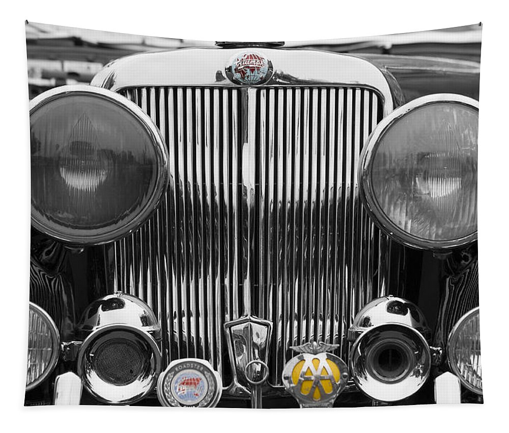 Triumph Tapestry featuring the photograph Triumph Roadster Front End Selective Color by Scott Campbell