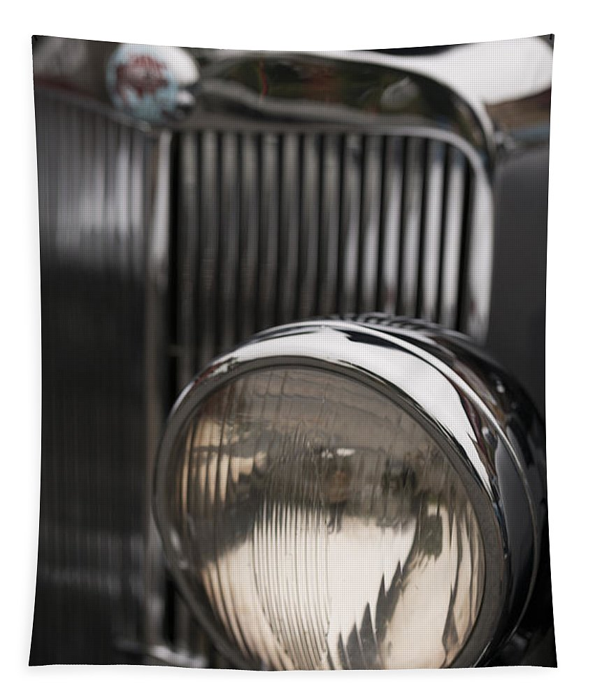 Headlight Tapestry featuring the photograph Triumph Roadster One Headlight by Scott Campbell