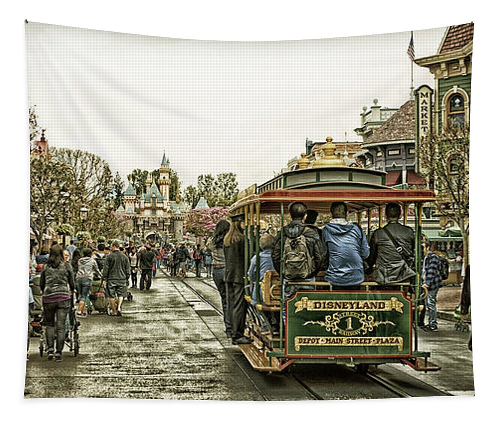Disney Tapestry featuring the photograph Trolley Car Main Street Disneyland Antique by Thomas Woolworth