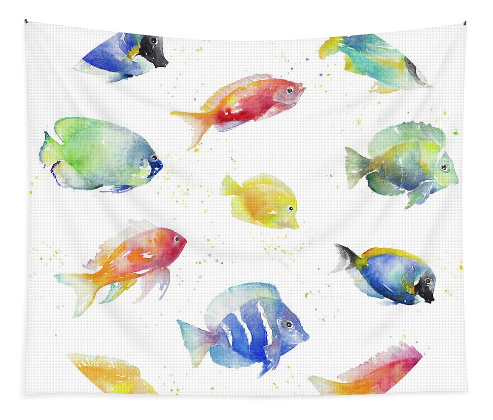 Tropical Tapestry featuring the painting Tropical Fish Round by Lanie Loreth