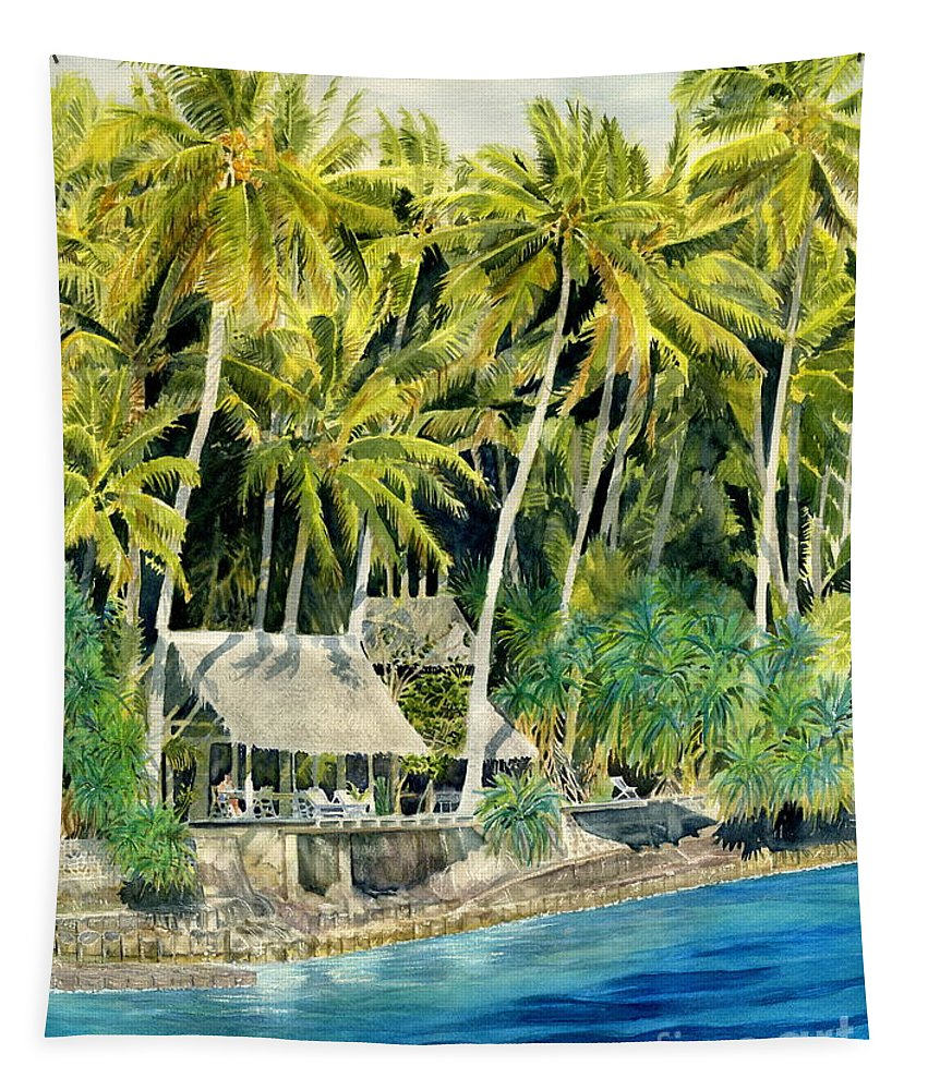 Bali Tapestry featuring the painting Tropical Island by Melly Terpening