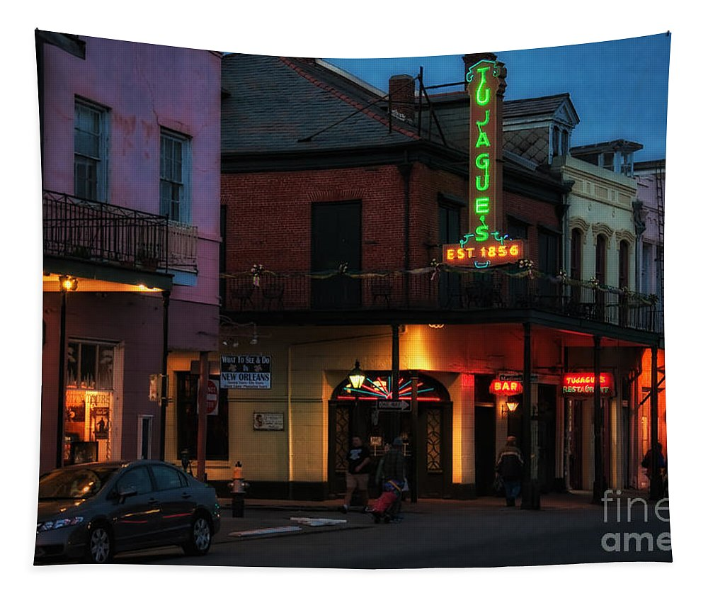 Tujagues Tapestry featuring the photograph Tujagues At Night In New Orleans by Kathleen K Parker