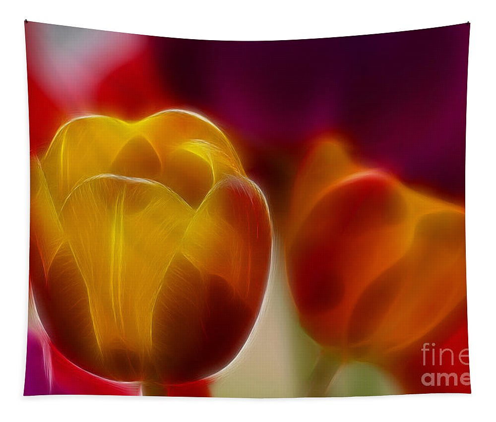 Tulip Tapestry featuring the photograph Tulip-7016-fractal by Gary Gingrich Galleries