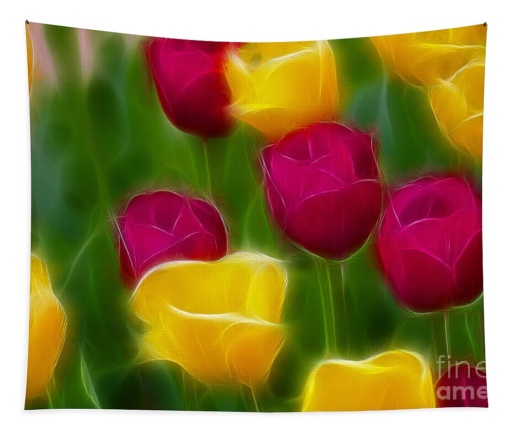 Tulip Tapestry featuring the photograph Tulips-6768-fractal by Gary Gingrich Galleries