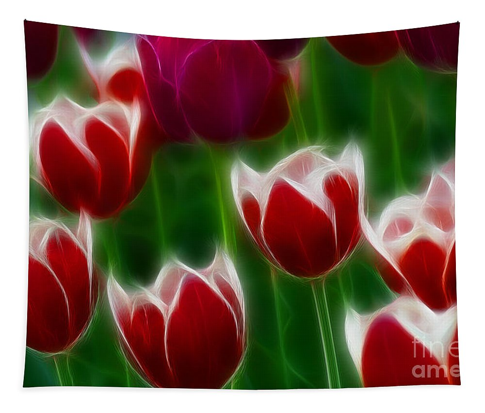 Tulip Tapestry featuring the photograph Tulips-6823-fractal by Gary Gingrich Galleries