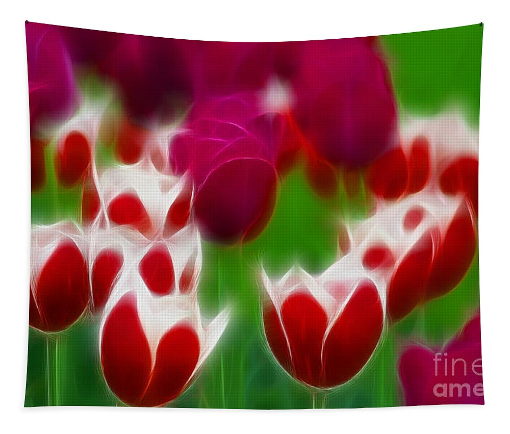 Tulip Tapestry featuring the photograph Tulips-6848-fractal by Gary Gingrich Galleries