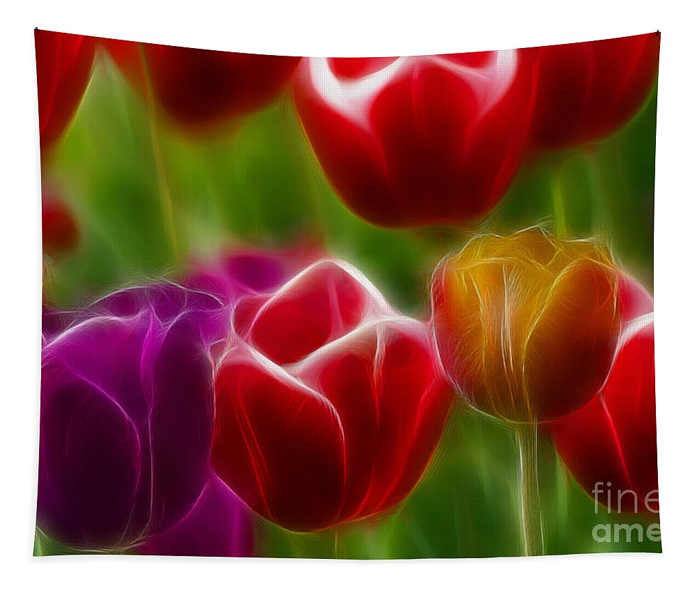 Tulip Tapestry featuring the photograph Tulips-7022-fractal by Gary Gingrich Galleries