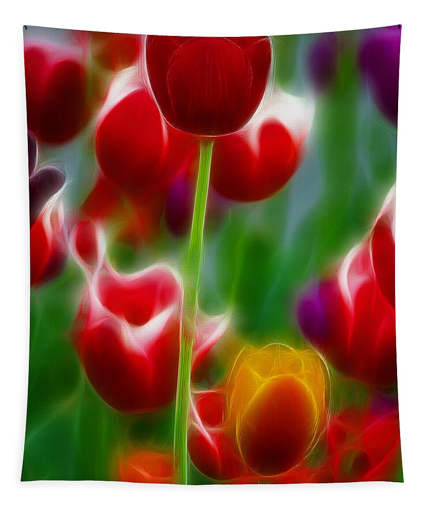 Tulip Tapestry featuring the photograph Tulips-7069-fractal by Gary Gingrich Galleries
