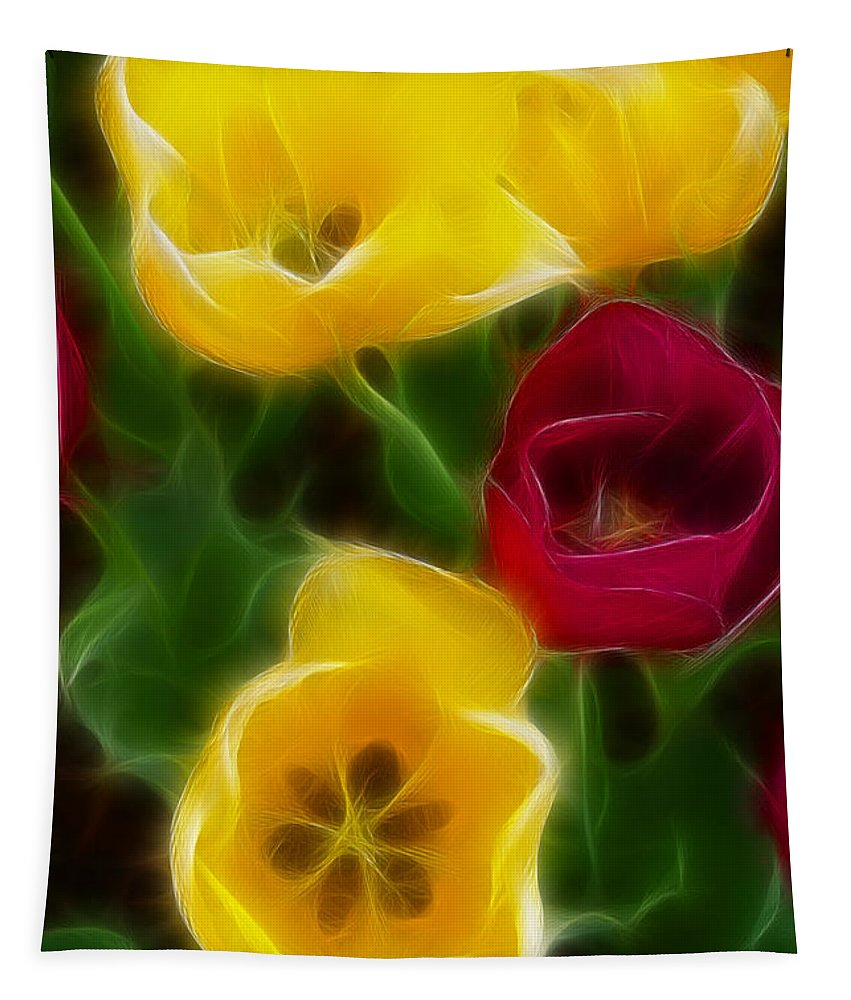 Tulip Tapestry featuring the photograph Tulips-7082-fractal by Gary Gingrich Galleries