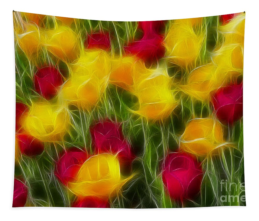 Tulip Tapestry featuring the photograph Tulips-7106-fractal by Gary Gingrich Galleries