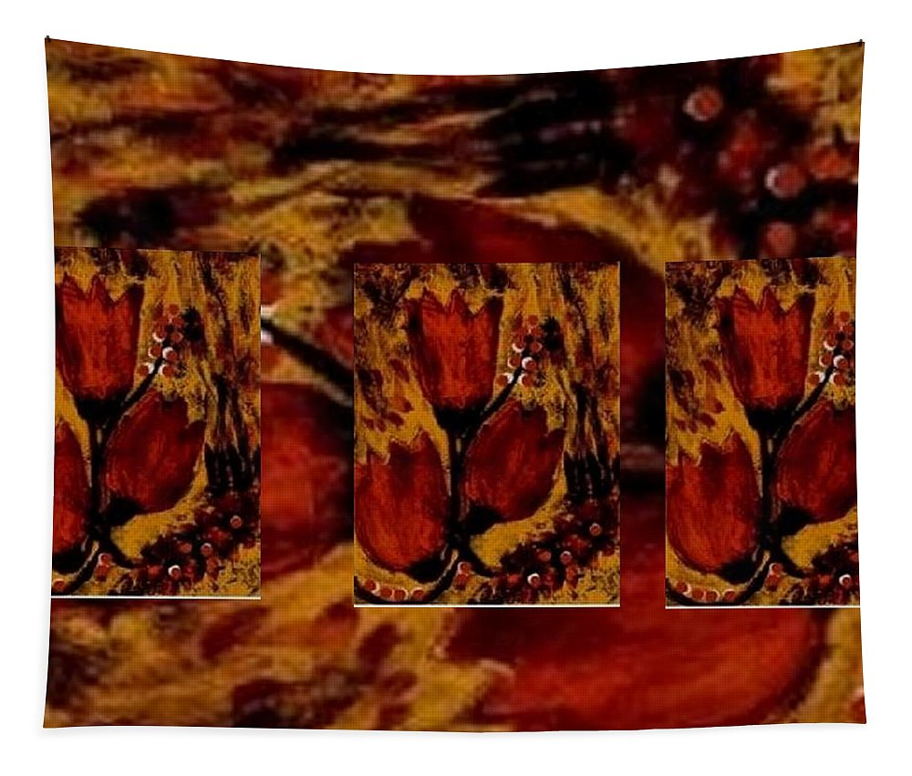 Stilleben Tapestry featuring the mixed media Tulips In Acryl Collage by Pepita Selles
