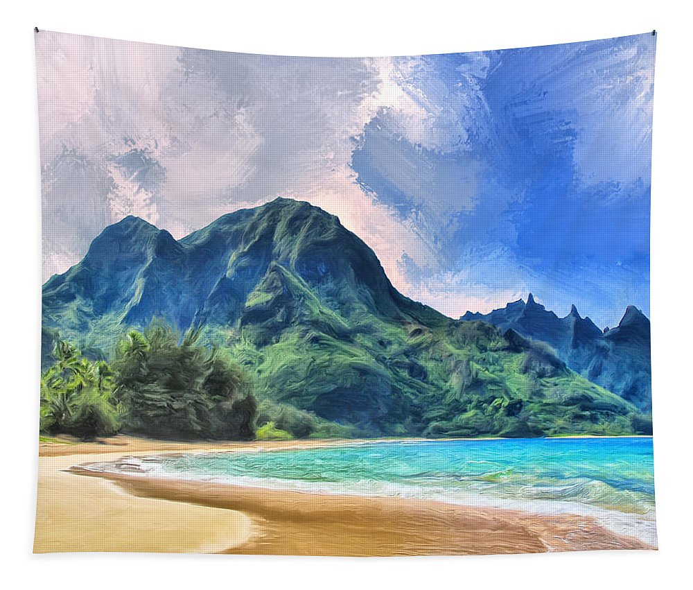 Tunnels Beach Tapestry featuring the painting Tunnels Beach Kauai by Dominic Piperata