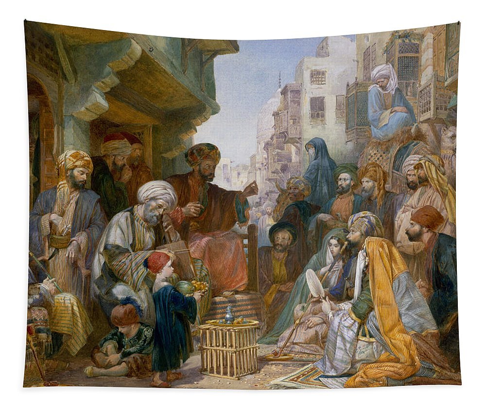 Orientalist Tapestry featuring the drawing Turkish Street Scene by Amadeo Preziosi