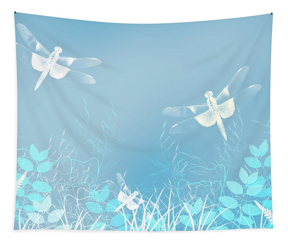 Turquoise Tapestry featuring the mixed media Turquoise Dragonfly Art by Christina Rollo
