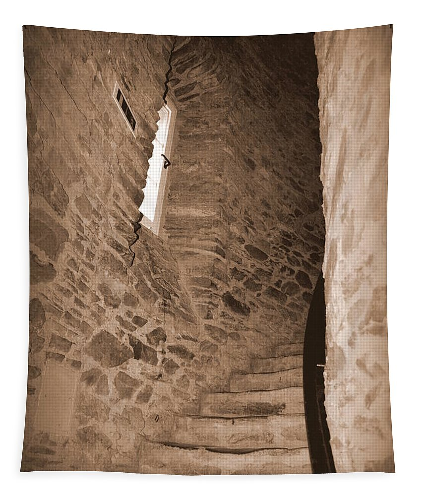 Turret Tapestry featuring the photograph Turret Staircase by Linda Covino