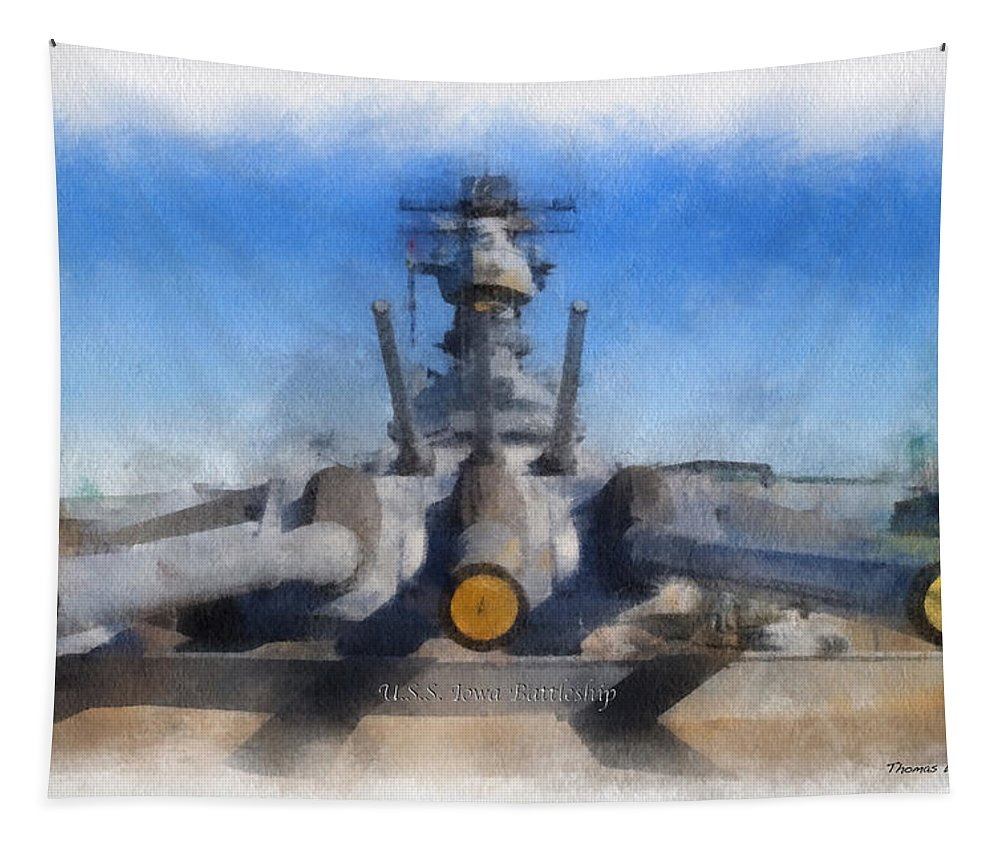 Uss Iowa Tapestry featuring the photograph Turrets 1 And 2 Uss Iowa Battleship Photo Art 01 by Thomas Woolworth