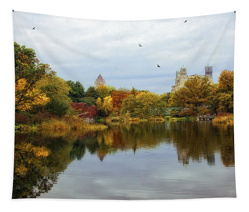 Autumn Tapestry featuring the photograph Turtle Pond - Central Park - Nyc by Madeline Ellis