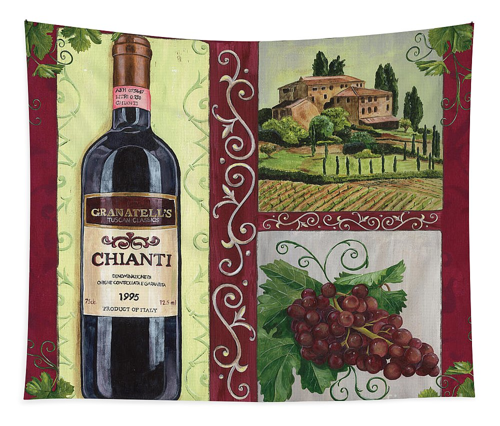 Wine Tapestry featuring the painting Tuscan Collage 1 by Debbie DeWitt