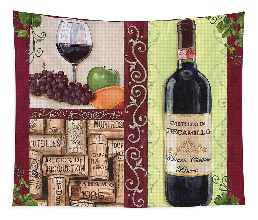 Wine Tapestry featuring the painting Tuscan Collage 2 by Debbie DeWitt