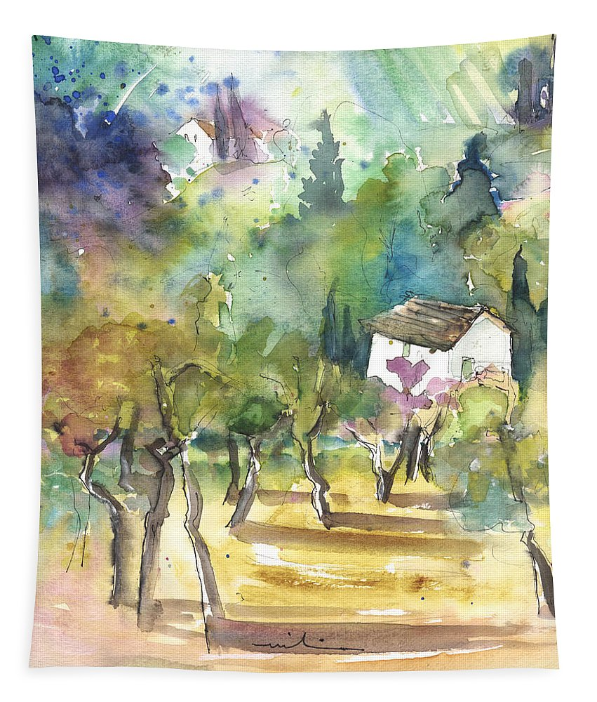 Italy Tapestry featuring the painting Tuscany Landscape 05 by Miki De Goodaboom