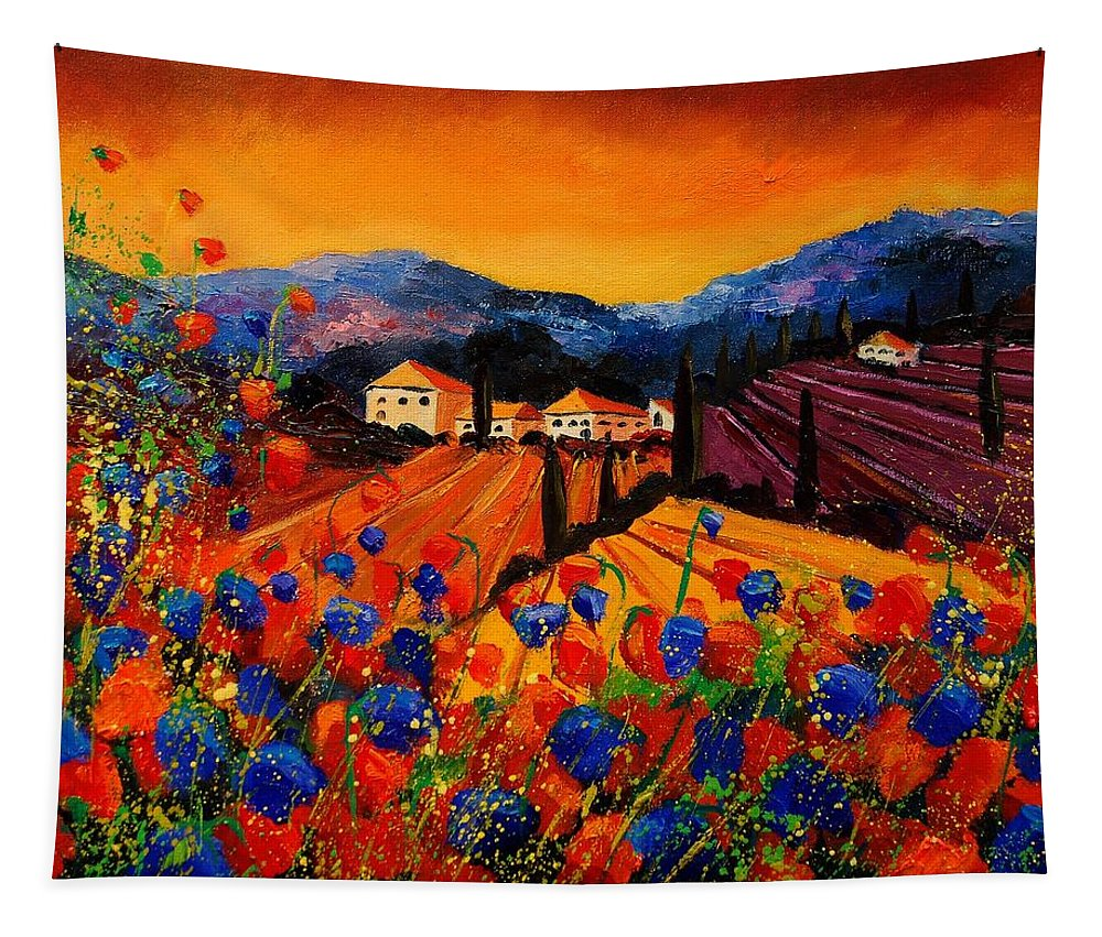 Poppies Tapestry featuring the painting Tuscany Poppies by Pol Ledent