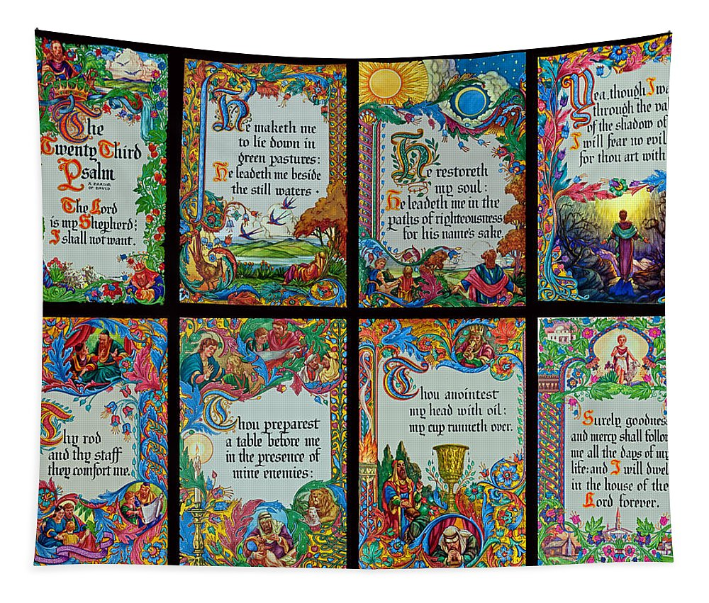 Holy Tapestry featuring the photograph Twenty Third Psalm Collage 2 by Tikvah's Hope
